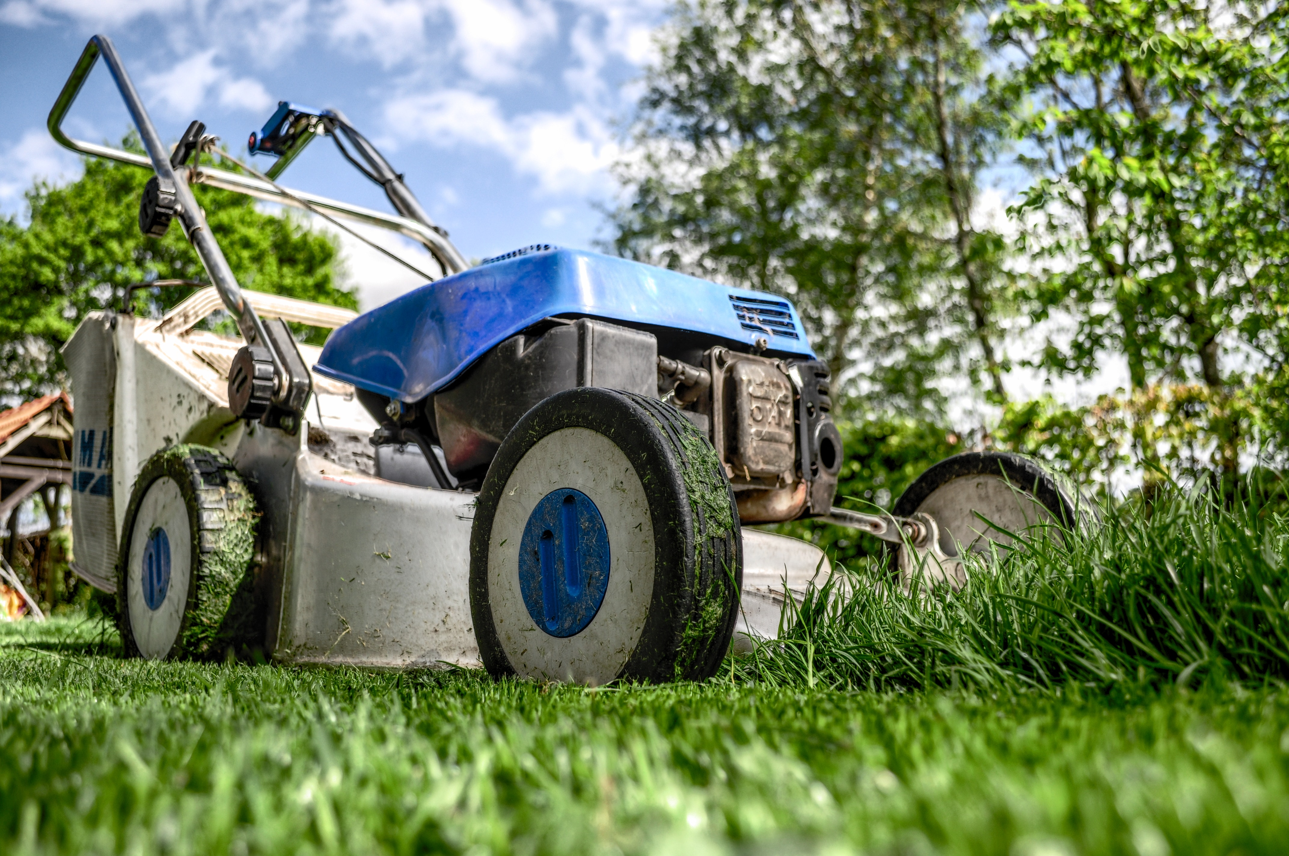 Photo of a lawnmower cutting grass